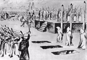 Инсценировка казни петрашевцев на Семеновском плацу 22 декабря 1849 года. Рисунок Б. В. Покровского.